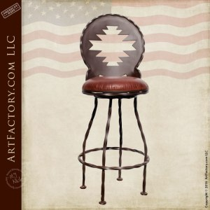 Navajo Wrought Iron Upholstered Bar Stools - BSS88