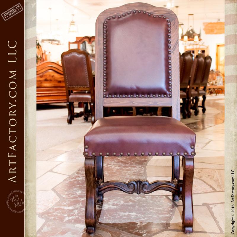 Regal 16th Cen Custom Dining Furniture, Leather Chairs   RA540CC