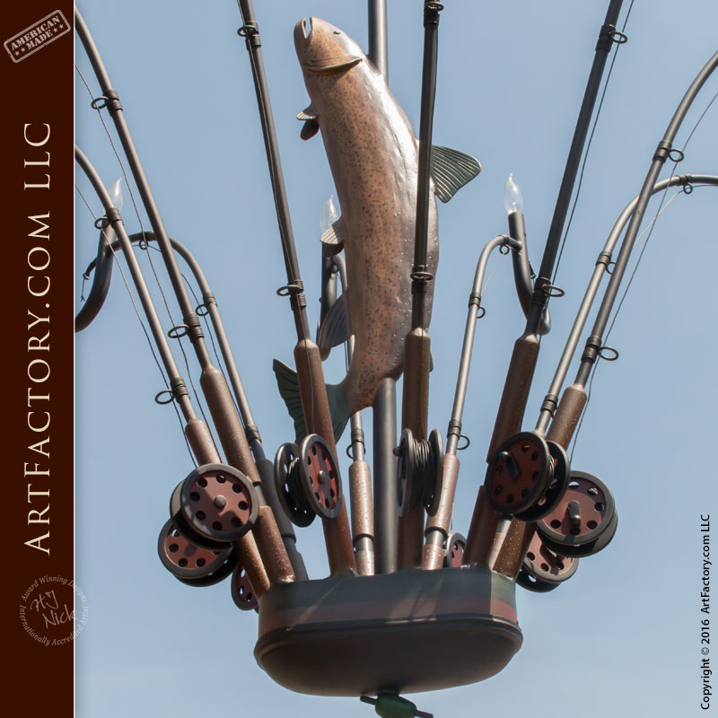 Fly Fishing Hand Forged Iron Chandelier - FFC728