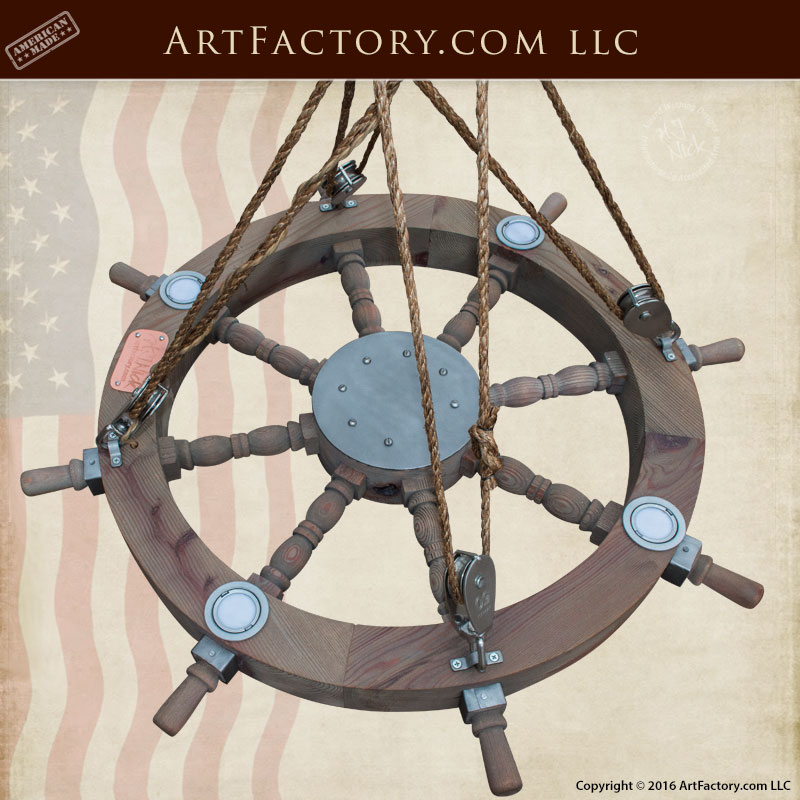 LED Ship Wheel Chandelier
