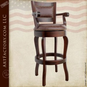 Leather Swivel Stool Wooden Custom Furniture - CFT407