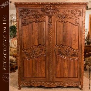 Solid Walnut Master Hand Carved Custom Design Armoire - WA678