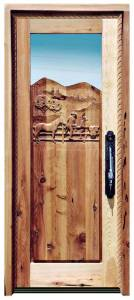 Carved Door - Cowboys On The Ranch Design  - 4343HC