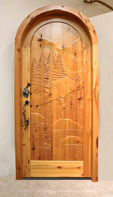 Arched Wood Door - Hand Carved Fly Fishing Scene - 7022HC