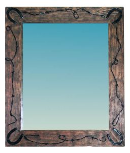 Western Style Mirror With Barbed Wire And Horse Shoes  - CBM632