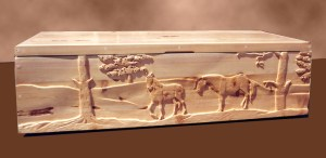 Storage Chest - Carved Horses, Wilderness Theme Chest - SCH789