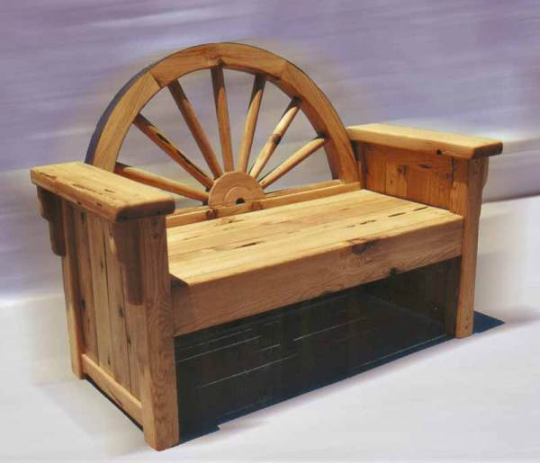 Awesome Western Style Benches Wagon Wheel Bench Cabin Bench Evergreenethics Interior Chair Design Evergreenethicsorg