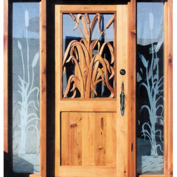 Custom Hand Carved Doors - Cattails By The Pond -  3002HC