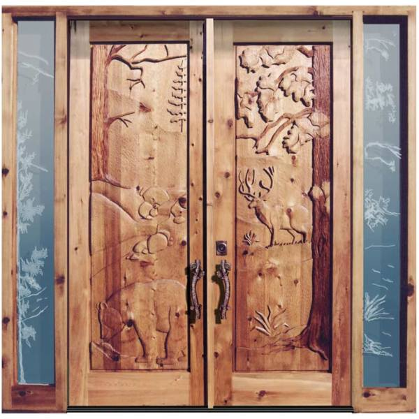 Grand Entrance  - Hand Carved Cabin Doors  - 6023HC