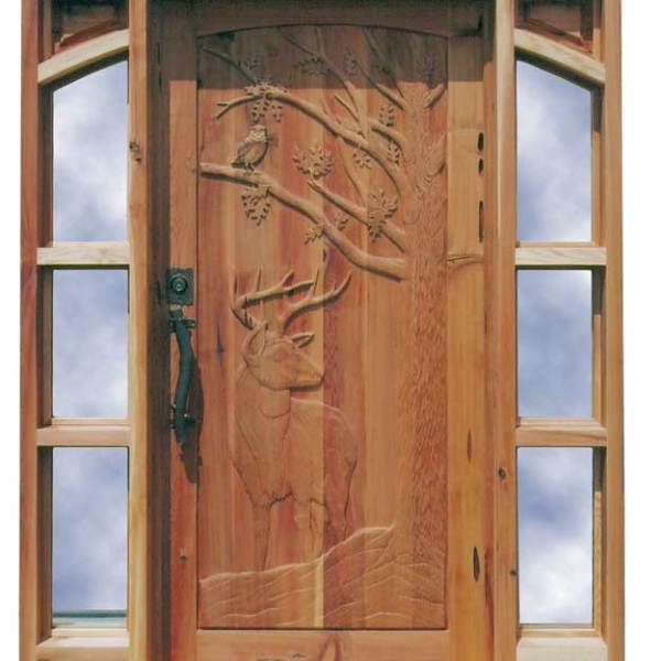 Carved Door - Custom Whitetail Buck with Owl Design - 7021HC