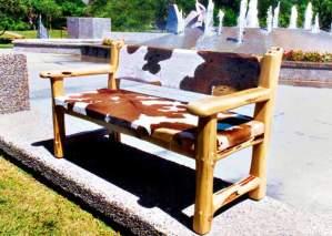 Bench - Western Cow Hide Bench - CBB683