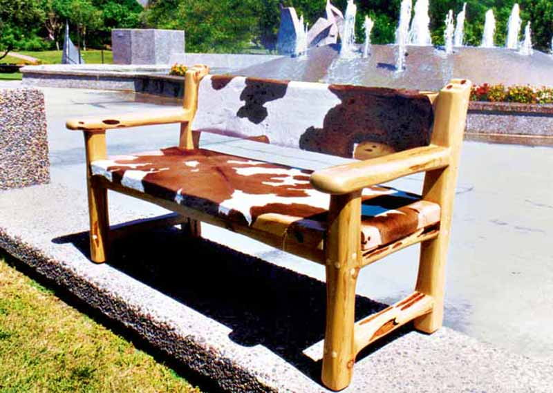 Bench - Western Cow Hide Bench - CBB683