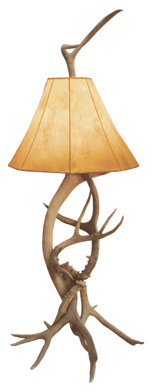 Antler Table Lamp With Rawhide Shade   White Tail Deer   LT626 ...