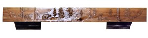 Hand Carved Wilderness Theme Fireplace Mantel - MLFM567A