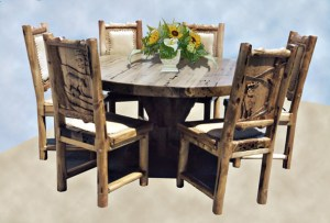 Dining Table - Rustic Log Table with Carved Back Chairs - MLT525