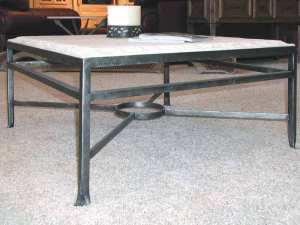 Coffee Table - Travertine Hand Forged Iron Table  -  CTET249