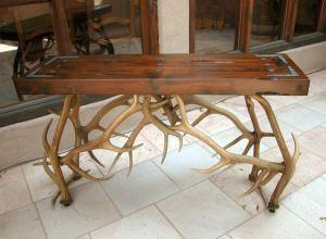 Antler Hall Table - Natural Elk Antler Sofa Table  -  MLT535