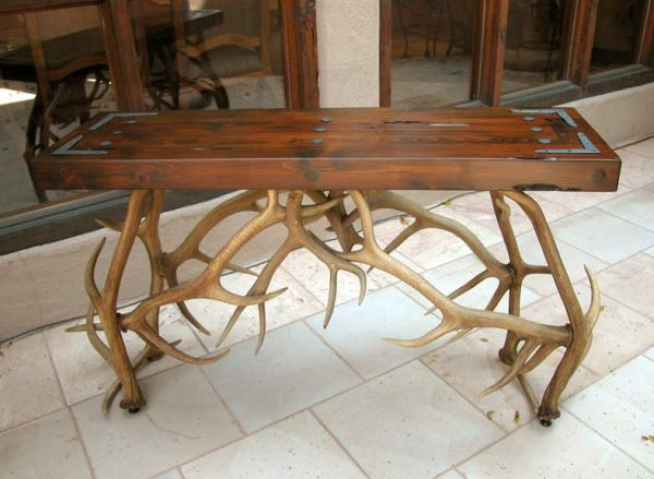 Antler Hall Table - Natural Elk Antler Sofa Table  -  MLT535