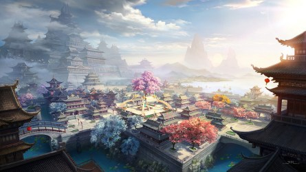 village china asian chinese traditional fantasy buildings clouds town wallpapermaiden wallpapers