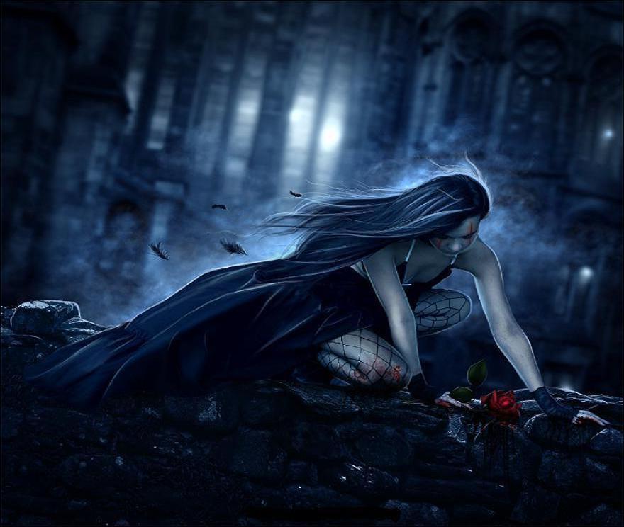 Dark Gothic Girl Wallpaper Deep Sorrow Art Id 20009 Art Abyss