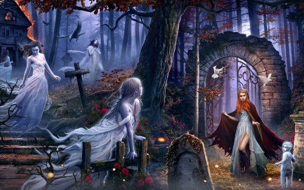 Child Ghosts In Graveyard Art - Id 84182 Abyss