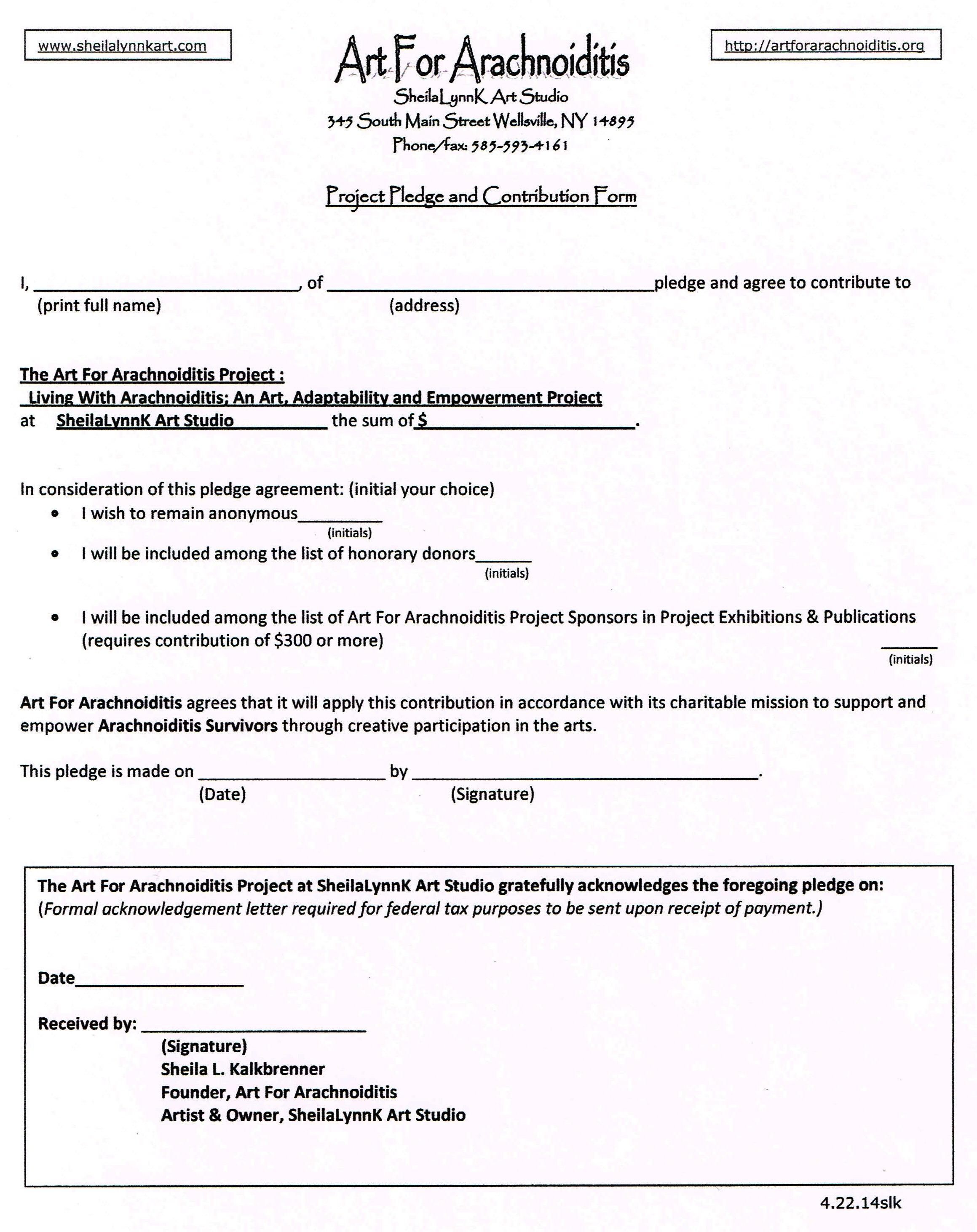 Art For Arachnoiditis Project Pledge Form