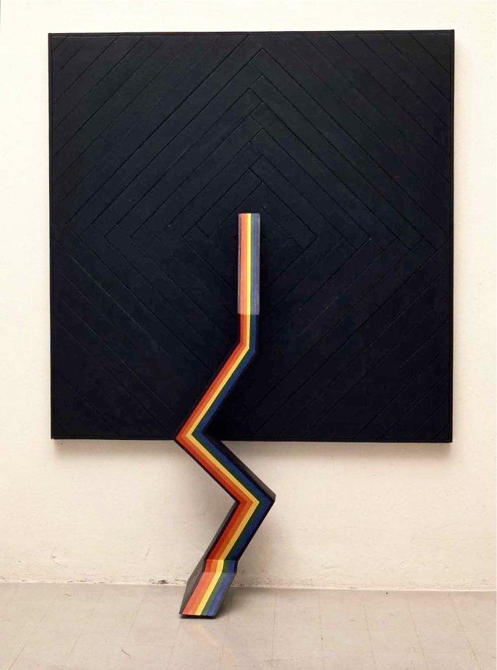 fondazione-marconi-lucio-del-pezzo-les-mai%cc%82tres-teinturiers-1966-acrilici-su-legno-130-x-160-x-40-cm-courtesy-fondazione-marconi