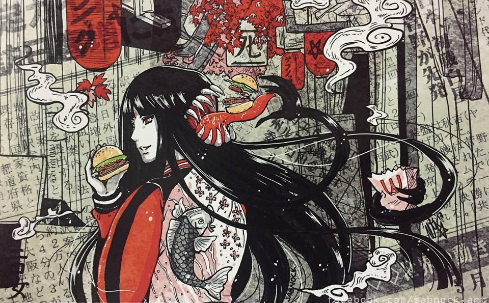 Futakuchi Onna Sosok Wanita Dengan Mulut Dikepala