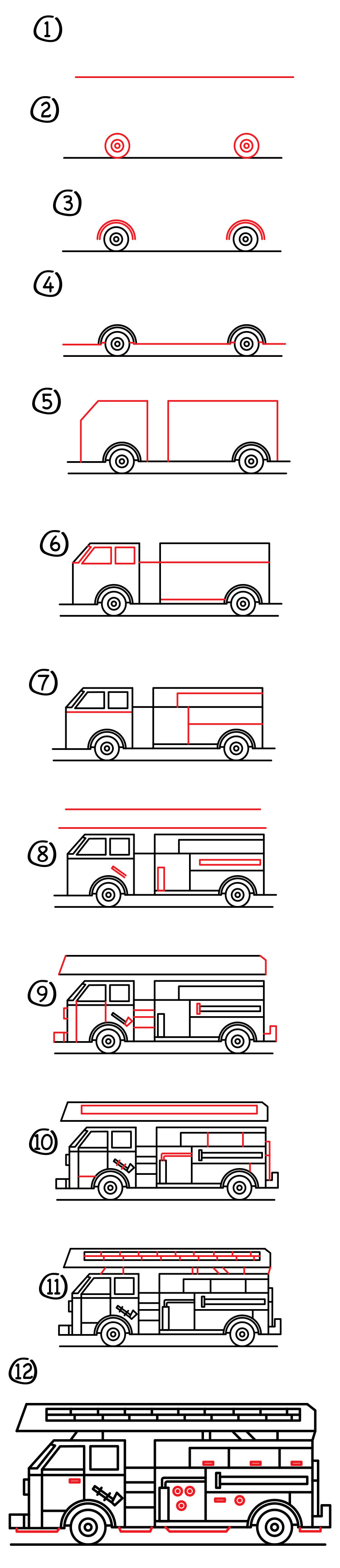 How To Draw A Fire Truck : truck, Truck