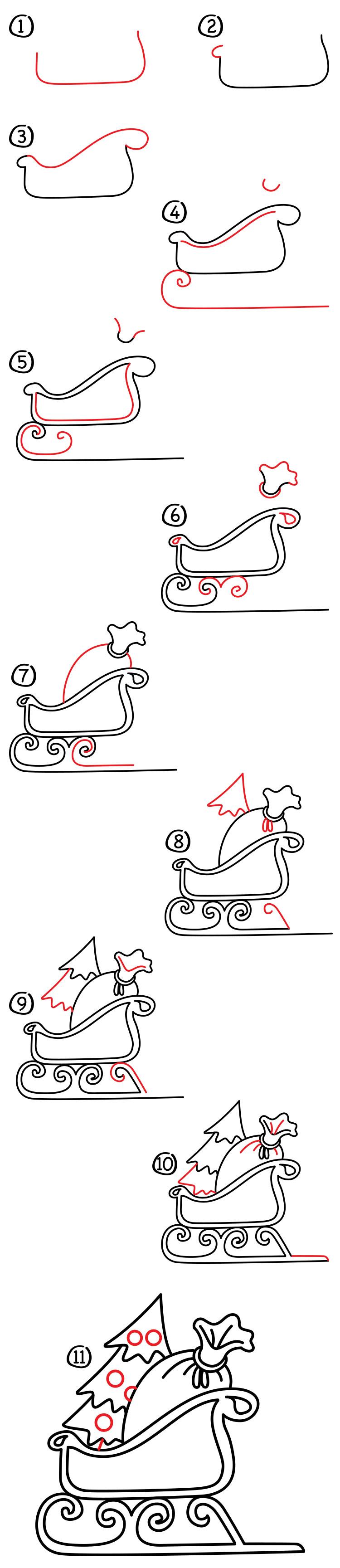 Santa Sleigh Drawings : santa, sleigh, drawings, Santa's, Sleigh