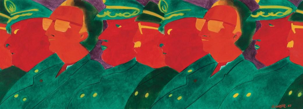 "Beatriz González, Los papagayos (The Parrots), 1987, oil on paper 29 ½ x 78""."