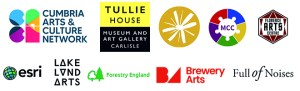Logos for the artful ways project partners: Cumbria arts and culture network, Tullie House, The Studio Morland, Multicultural Cumbria, Florence Arts, Esri, Lakeland Arts, Forestry England, Brewery Arts, Full of Noises.