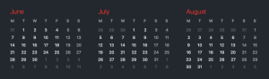 An online calendar showing June, July and August.
