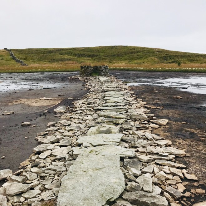 Great Knoutberry Hill, a stone path across a dried up muddy landscape.