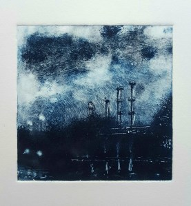 Jamie Barnes monotype drawing of canal factory in Ulverston.