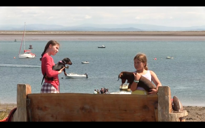 An image of two girls on Piel Island, each holding a dog. The sea behind them is blue and has some small boats on it. They are standing behind a thick wooden bench.