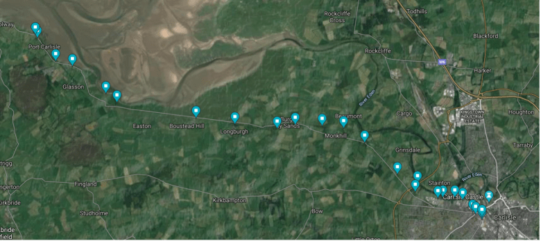 A map image showing blue markers along the route walked by Rosie Galloway Smith from Shaddon Mill to Port Carlisle, along the route of the old canal and railway tracks.