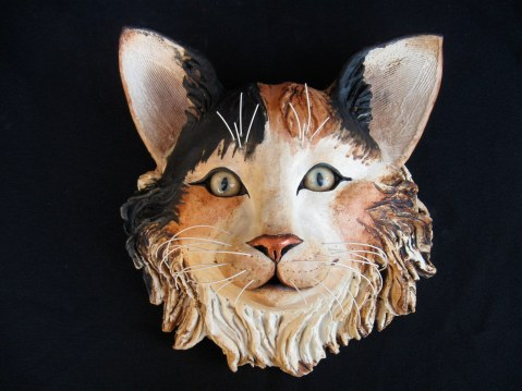 "Cat Wall Head - approx. 9""-10""H x 8""-9""W x 6""-7""D"