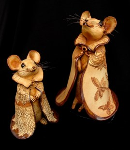 "Caped Mice, Table-size Small, no base - approx. 10"" HMedium, with Base - approx. 13""H"