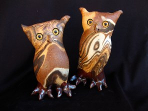"""Mixed Clay Owls Table-sized - approx. 4.5""""-7""""T"""