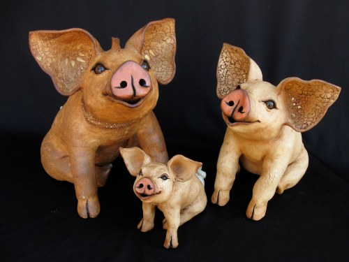 """Sitting Pigs - approx. 8""""-21""""H"""