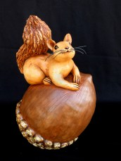 "Small Squirrel on Large Acorn - approx. 12""-14""H"