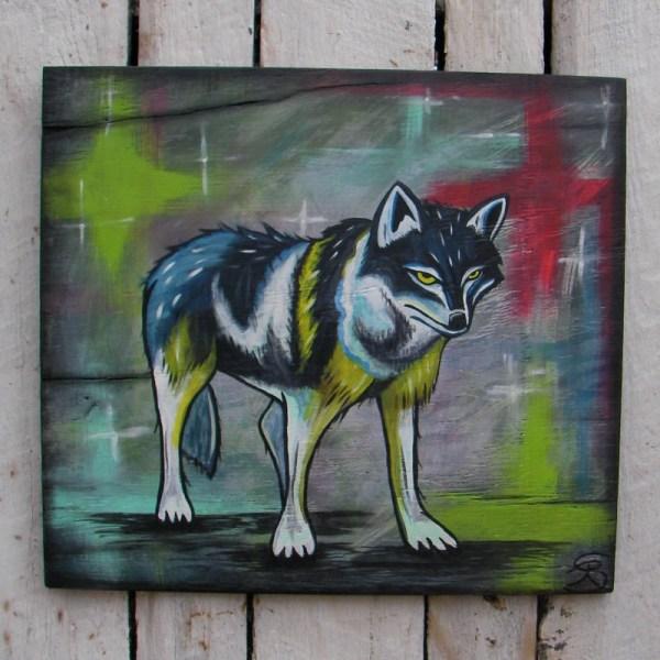 Primitive Native American Folk Art Wolf Painting Southwest Decor