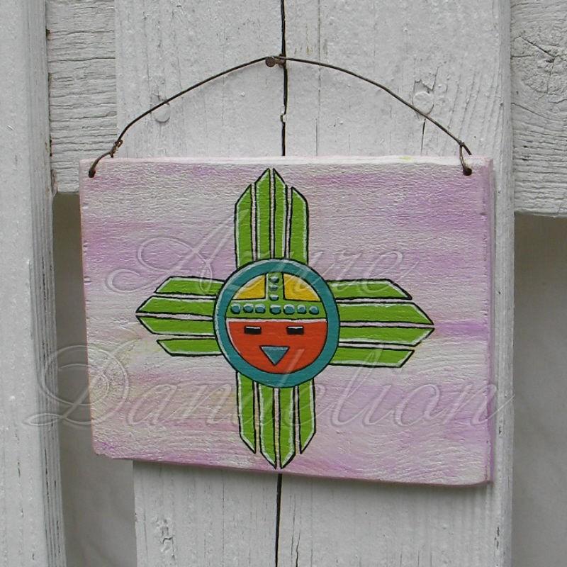 Original Primitive Sunface Painting Native American Folk