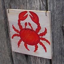 Original Red Crab Primitive Folk Art Painting Nautical