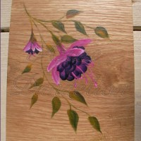 primitive folk art fuchsias original painting on rustic ...