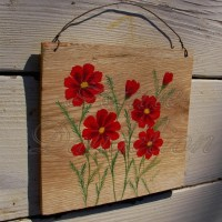 primitive folk art red cosmos painting on salvaged natural ...