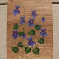 primitive folk art purple violets original painting on ...