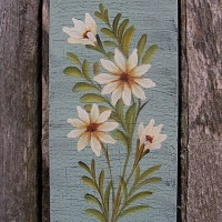 primitive folk art original daisy painting country cottage ...