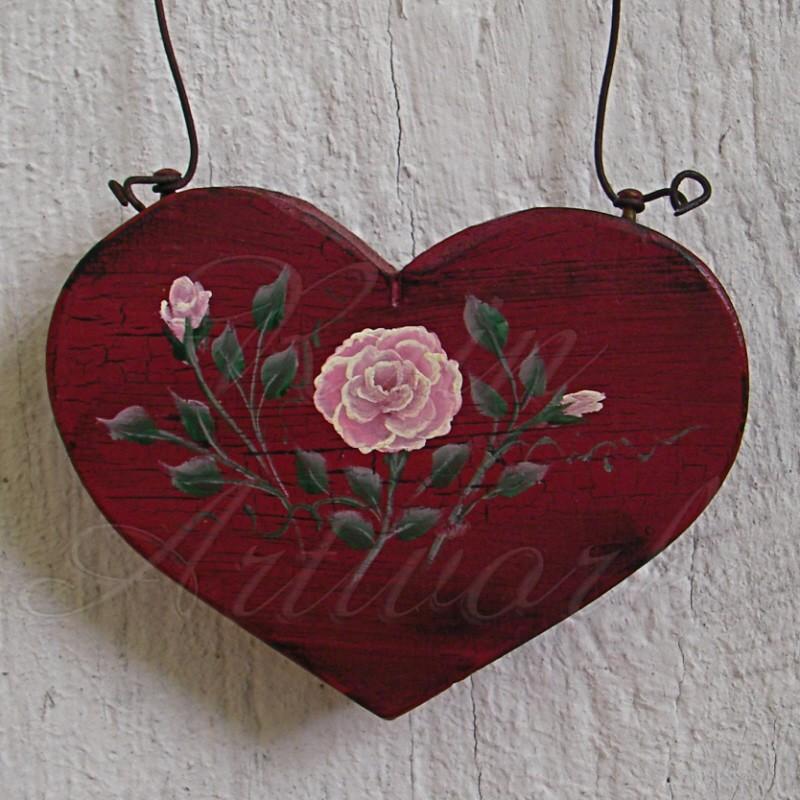 Primitive Heart Pink Rose Christmas Ornament Folk Art Cottage Chic